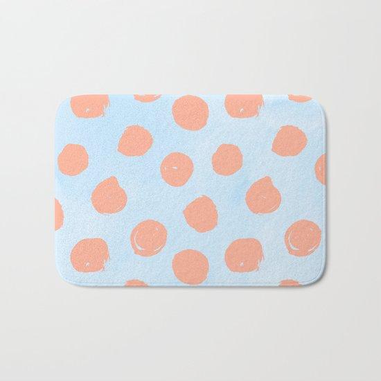 Sweet Life Dots Peach Coral Pink + Blue Raspberry Bath Mat