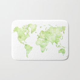Green watercolor world map Bath Mat