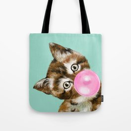 Bubble Gum Baby Cat in Green Tote Bag