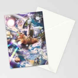 Llama On Rainbow Laser Cat Unicorn In Space Stationery Cards