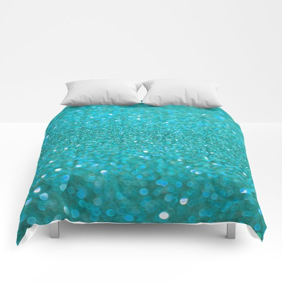 Bright Turquoise Glitter Comforters