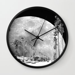 California Dream // Moon Black and White Palm Tree Fantasy Art Print Wall Clock