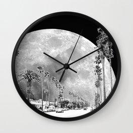 California Dream // Fantasy Moon Beach Sidewalk Black and White Palm Tree Silhouette Collage Artwork Wall Clock