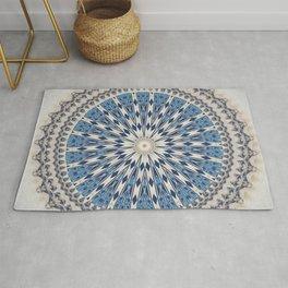 Bright Blue Marble Mandala Design Rug