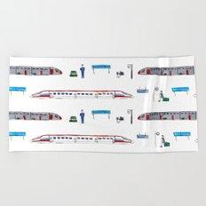 Travel by train Beach Towel