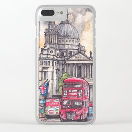 London ink & watercolor illustration Clear iPhone Case