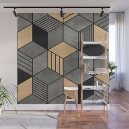 Concrete and Wood Cubes 2 Wall Mural