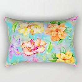Tropical Summer Pastel Hibiscus Rectangular Pillow
