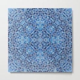 Geometric Symmetry Denim Blue Metal Print