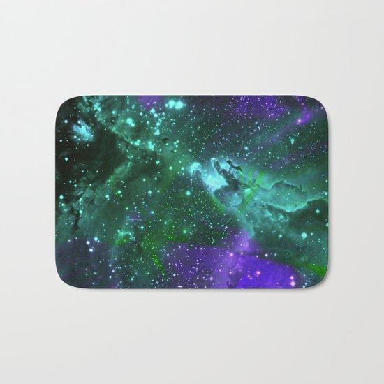 Aqua N Amethyst Space Flower Bath Mat