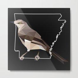 Arkansas – Northern Mockingbird (Black) Metal Print