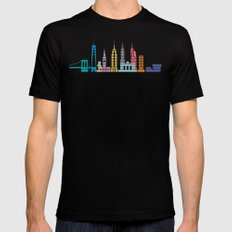 New York Skyline Black Mens Fitted Tee Black LARGE