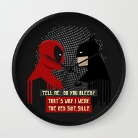 suit Wall Clocks featuring Red suit by Daniac Design