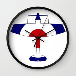 World War 2 Fighter Red White Blue Silhouette Wall Clock