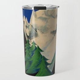 placard ENIT Aosta Valley Skiing Alps Giuseppe Magagnoli Art Deco Travel Mug