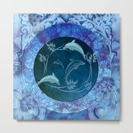 Funny dolphin with flowers Metal Print