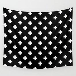 White Swiss Cross Pattern on black background Wall Tapestry