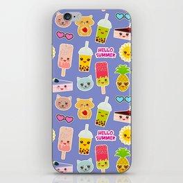 Hello Summer Pineapple, cherry smoothie cup, ice cream, sun, cat, cake, hamster. Kawaii cute face. iPhone Skin