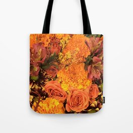 Autumn Floral Bouquet in Bright Orange and Golds Tote Bag