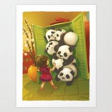 A cupboard of pandas Art Print