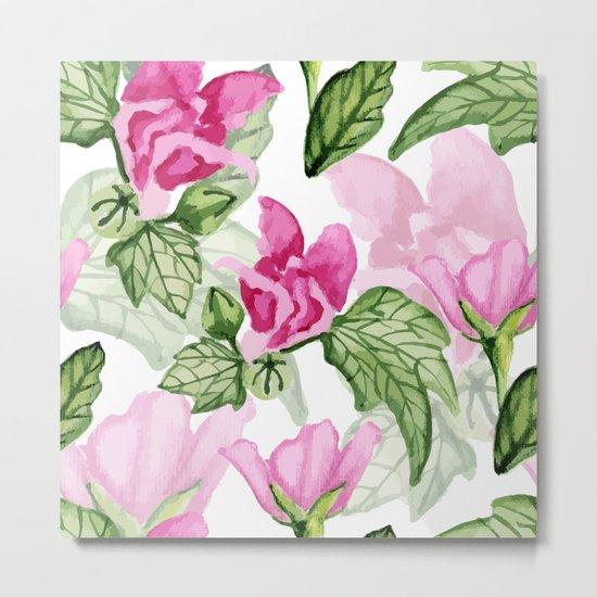 Pink flowers pattern Metal Print