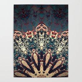 Teal Beige Textured Half Mandala Poster