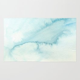 Abstract hand painted blue teal watercolor paint pattern Rug