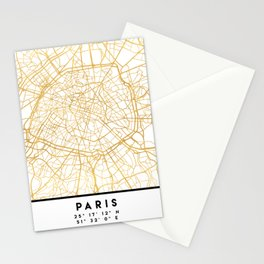 PARIS FRANCE CITY STREET MAP ART Stationery Cards