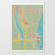 Downtown Milwaukee Map Canvas Print