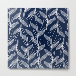 Etched Leaves Botanical Pattern in White and Nautical Navy Blue Metal Print