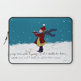Snow day with bible verse Laptop Sleeve