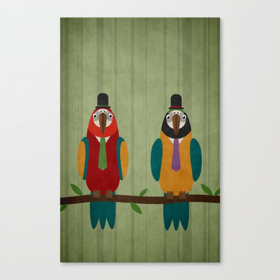 Suited parrots Canvas Print