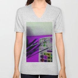 Aquarell und Digital Unisex V-Neck