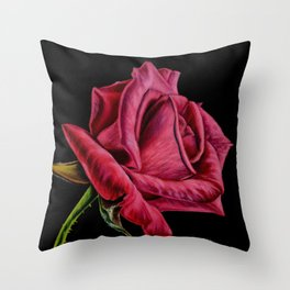 Red Rose On Black Square Format Throw Pillow