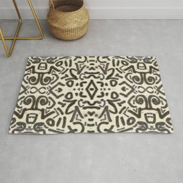 Black and White Doodle Art Rug