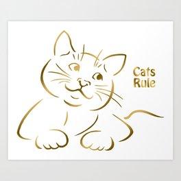 Golden Cats Rule Kitten Art Print