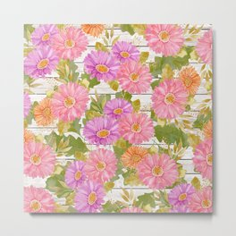 Rustic white wood pink lavender coral watercolor floral Metal Print