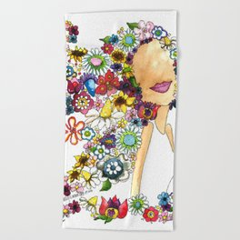 Flower Girl Two Beach Towel