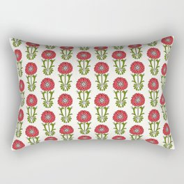 Dot Floral in Red Rectangular Pillow