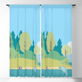 Ocean And Dolphins Blackout Curtain