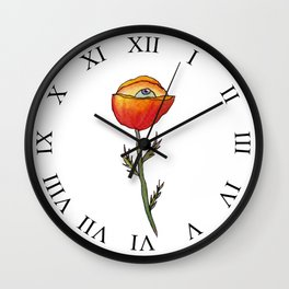 All Seeing Poppy Flower Wall Clock