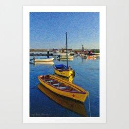 Yellow fishing boat, Santa Luzia, Portugal Art Print