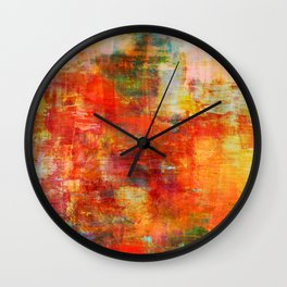 AUTUMN HARVEST - Fall Colorful Abstract Textural Painting Warm Red Orange Yellow Green Thanksgiving Wall Clock