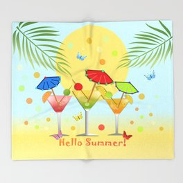 Hello Summer, vector illustration with text Throw Blanket