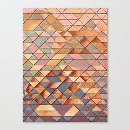 Triangles Circles Golden Sun Canvas Print