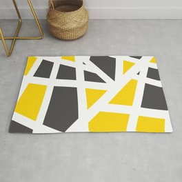 Abstract Interstate  Roadways Gray & Yellow Color Rug