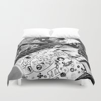 records Duvet Covers featuring Records by Emily Morris