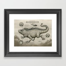 Swimming Dragon Iguana Framed Art Print