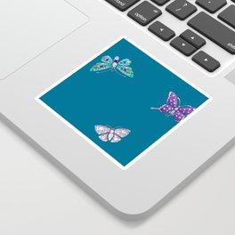 Christmas jeweled butterflies on teal, butterfly, jewels, precious, butterflies, new year, t Sticker