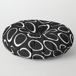 Black And Whtie Irregular Circles Minimalist Pattern Floor Pillow